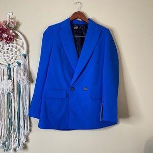 Zara Double Breasted Blazer Royal Blue Size XS